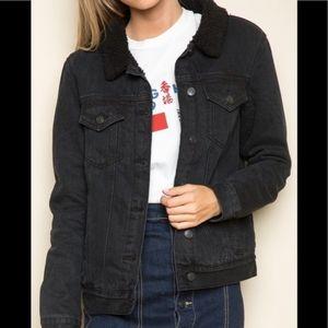 Brandy Melville Black Denim Fur Lined Jacket